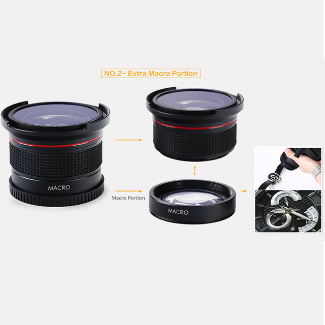 K&F Concept 58MM 0.35X Ultra Clear Blue Film Coated Fish Eye Lens + Microfiber Cloth for Canon Nikon DSLR Cameras free shipping 4