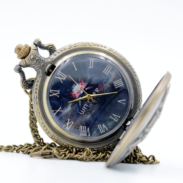 The Game WITCHER Cosplay Quartz Pocket Watch Black Dial Analog Pendant Necklace Men Women Watches Chain Gift