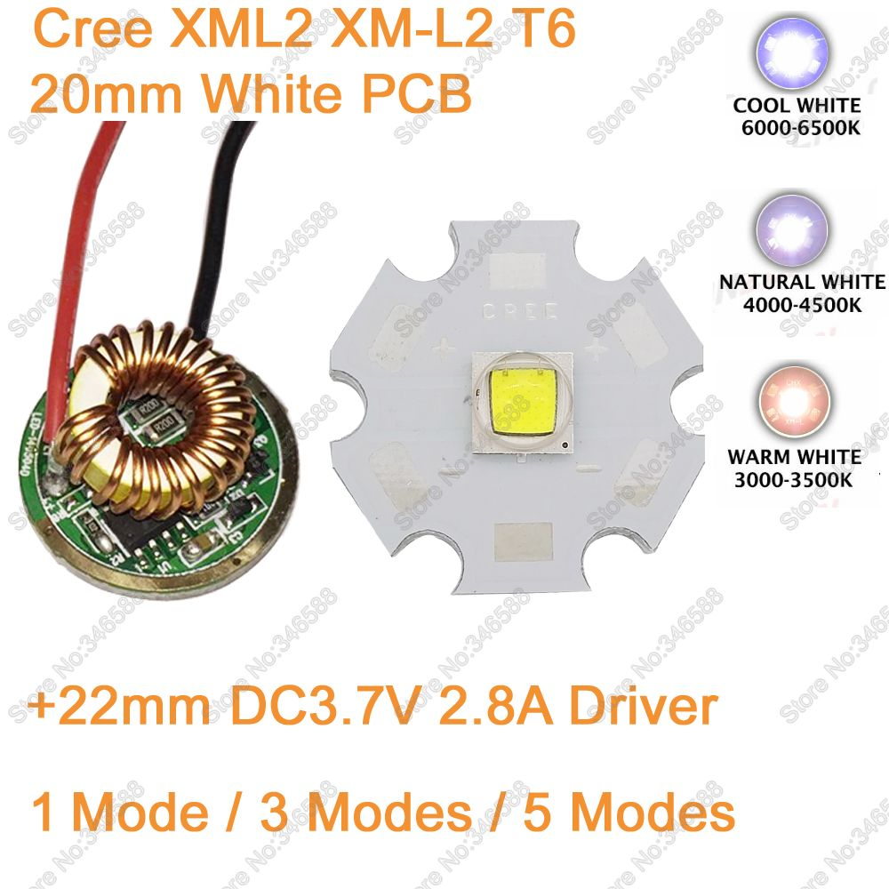Home original cree xm l2 xml2 led emitter lamp light cold white - 20mm White Pcb Cree Xml2 Xm L2 T6 10w Cool White Neutral White Warm White High Power Led Emitter Chip 12v Input 22mm Led Driver