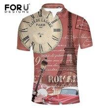 38740cab46 FORUDESIGNS Relógio Do Vintage Impressão Camisa Polo para Homem Masculino  Verão Elástico Plus Size Casuais Camisa de Manga Curta.