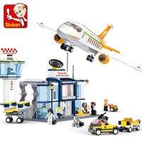 Sluban 678Pcs LegoINGs City Aviation Series International Airport Building Blocks Sets Figures Educational Toys for Children