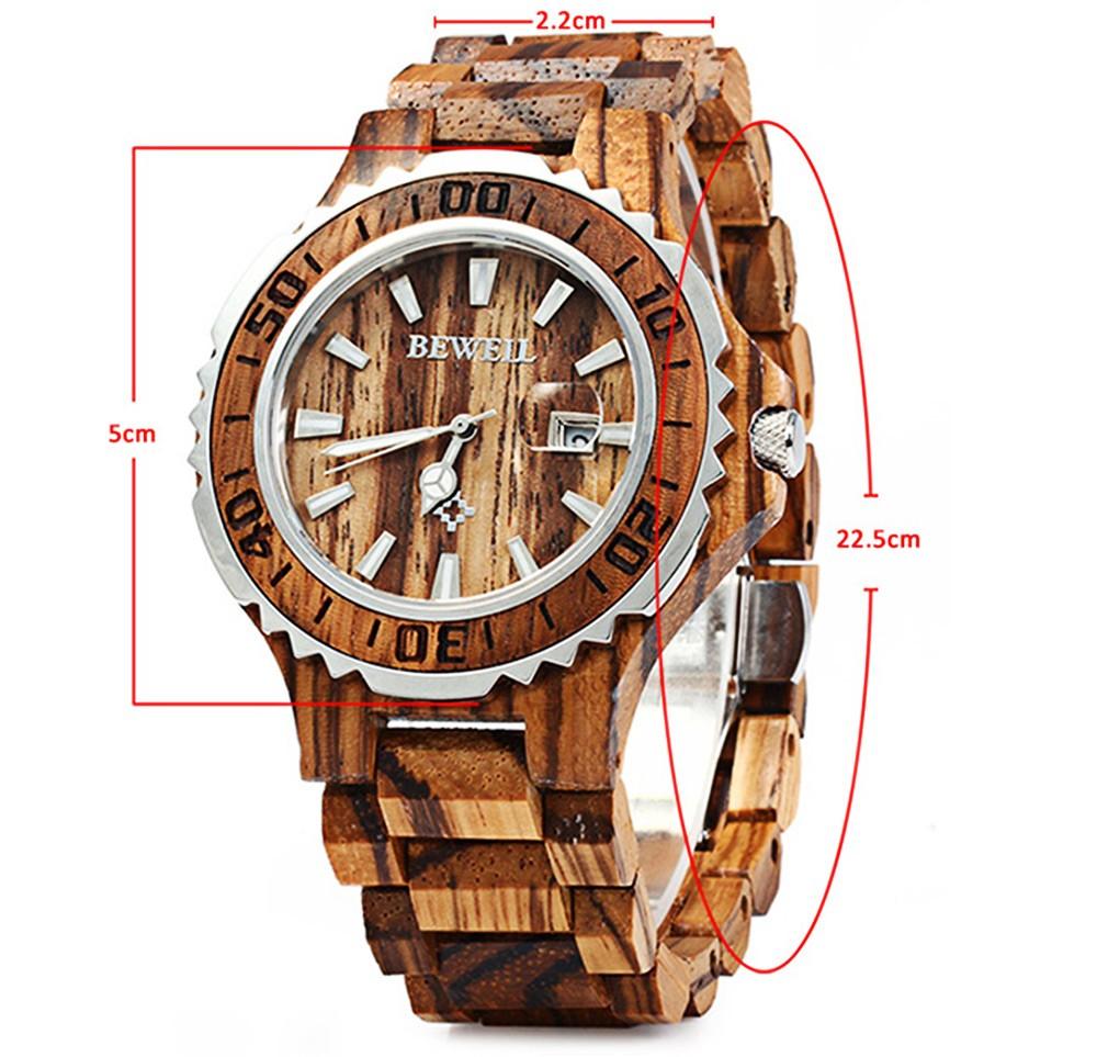 BEWELL 17 Luxury Brand Wooden Men Quartz Watch with Luminous Hands Calendar Water Resistance Analog Wrist watches reloj hombre 1