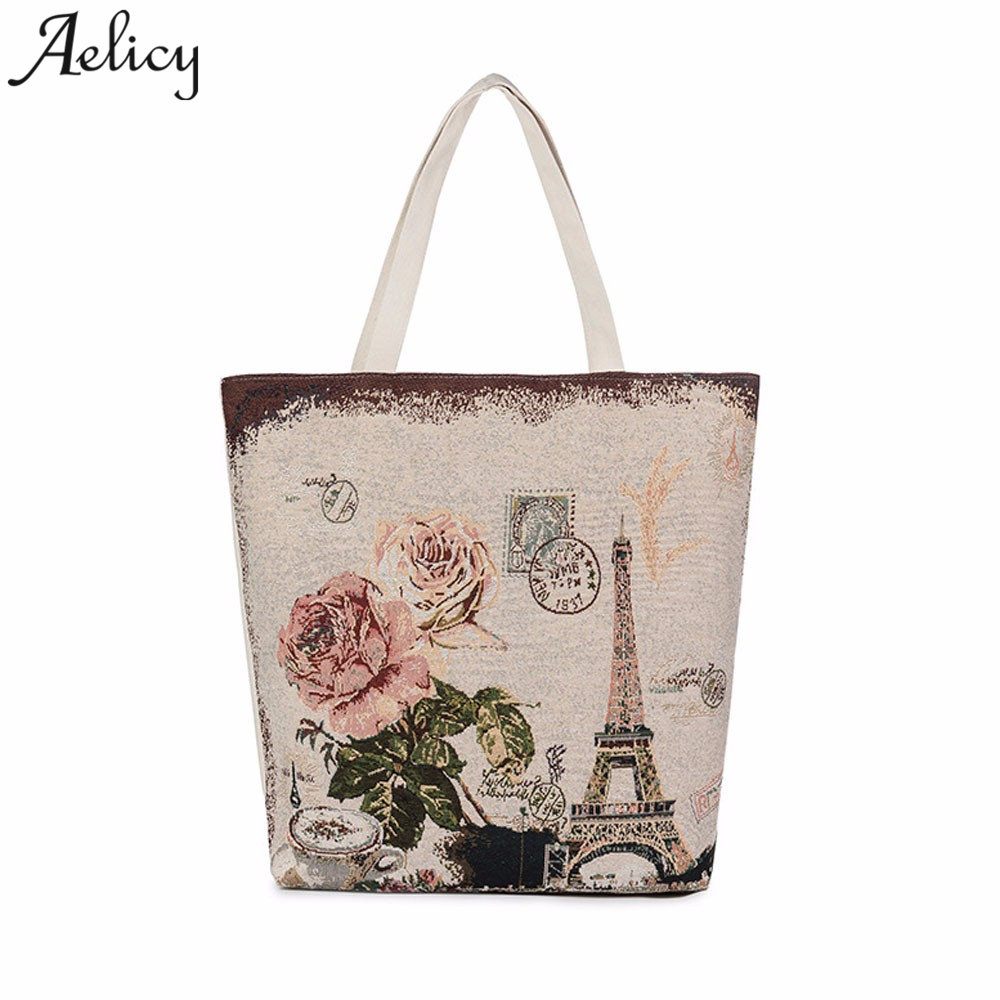 Aelicy High Quality Canvas Women Bag Handbag Casual Large Capacity Female Totes Bolsas Vintage Solid Woman Shoulder Beach Bag handbag