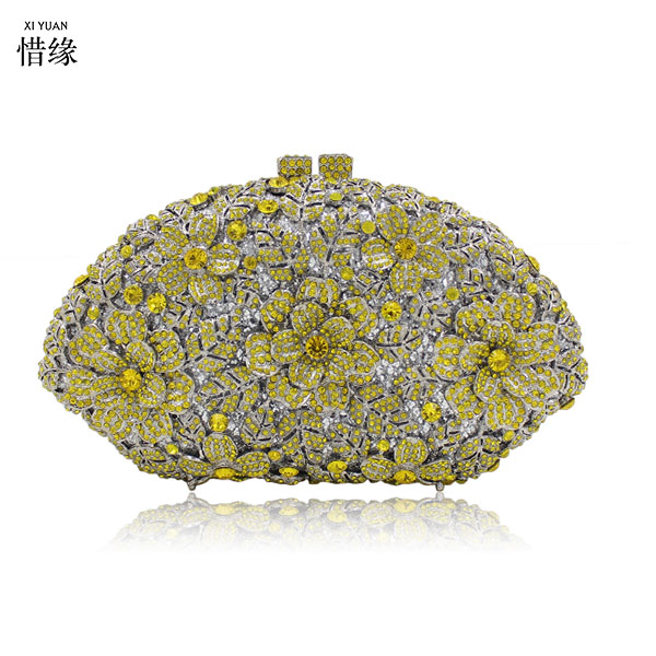 XIYUAN brand New Evening Bags Rhinestones Clutch Purse Handbags Crystal Wedding Bag Day Cluthes Mini Women Floral Minaudiere diamonds women evening bags chain shoulder purse handbags one side rhinestones evening clutch bags wedding party purse