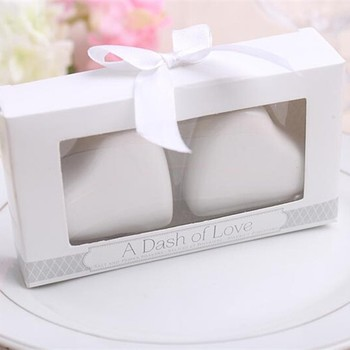 """DHL 60pcs /lot Wedding Favors Gifts of """"A Dash of Love"""" White Ceramic Heart Salt and Pepper Shakers"""