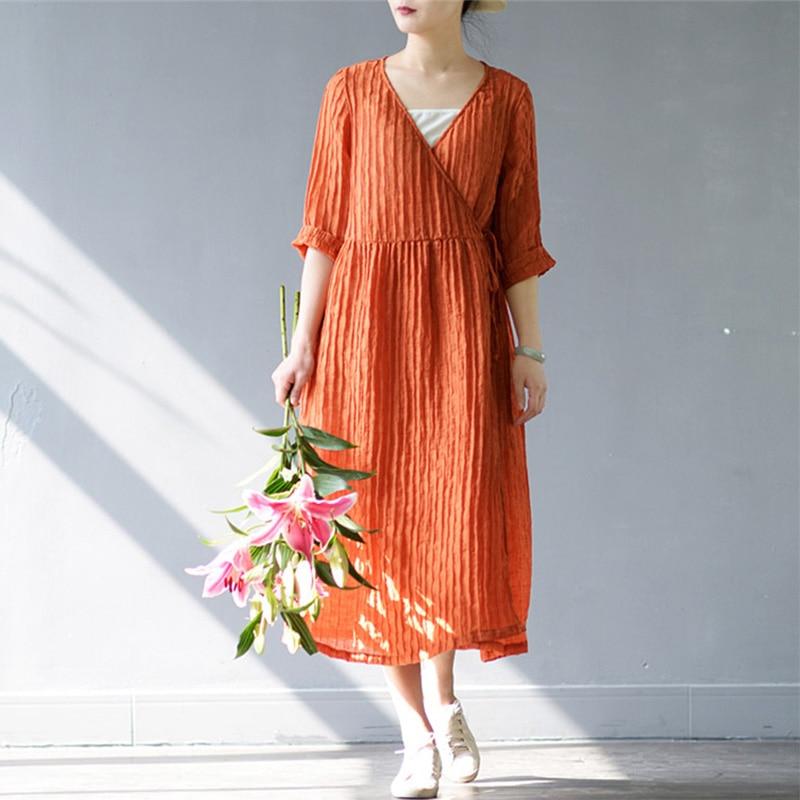 SCUWLINEN 2019 Jarní letní šaty Ženy Jednobarevné V-výstřih Volné tři čtvrtiny Dlouhé povlečení pro ženy Neformální Vestido S205