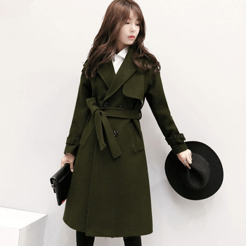 Winter Coat Women Thicken Army Green Woolen Coat Long Jacket Female Casaco Feminino Double Breasted Maxi Coats Wool Parka C2757