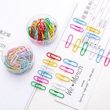 50pcs/box Rainbow Colored Paper Clip Metal Clips Memo Clip Bookmarks Stationery Office Accessories School Supplies