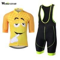 Cyclisme Jersey WEIMOSTAR Hommes Vélo Jersey Moitié Manches VTT Jaune Sourire Vêtements Chemise Cuissard Costume Set Rapide-Sec