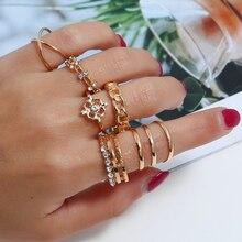 L&H 8PCS/Set Luxury Shining Rhinestone Rings Set Elegant Fashion Gold Wedding Party Bohemia Style For Women