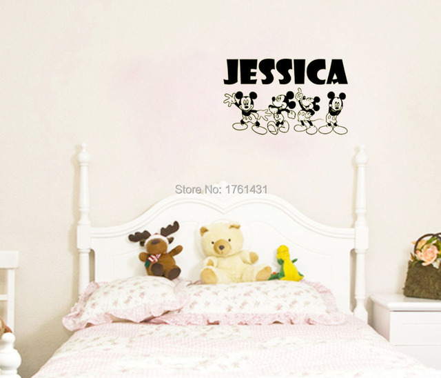 Custom Name MICKEY MOUSE wall art decals home decoration living room ...