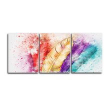 Laeacco Abstract 3 Panel Wall Art Watercolor Feather Posters and Prints Pictures Home Living Room Decoration Canvas Paintings