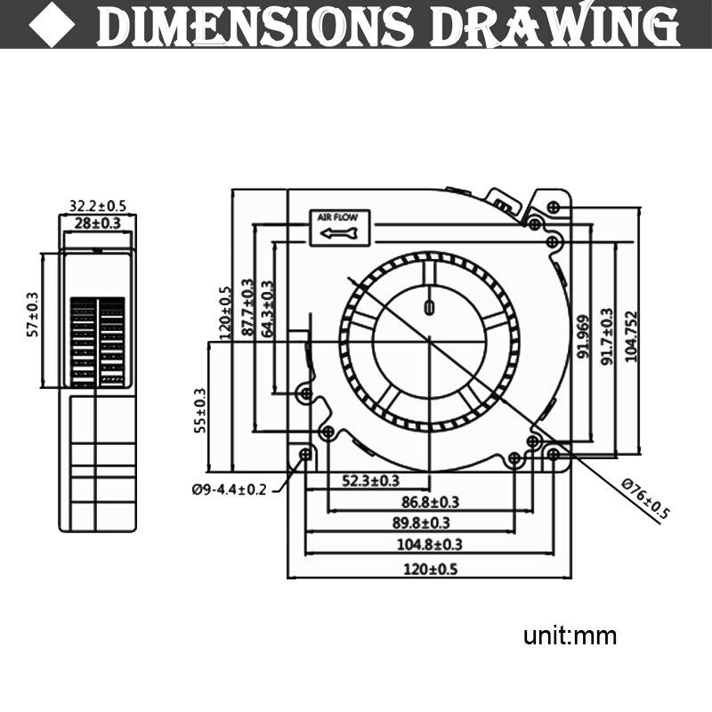 Gdstime-ventilador de 5v, 12v, 24v, 48v, 120