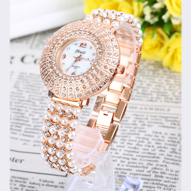 Luxury Brand New Watch Women Crystal Rhinestone Jewelry Pearl Bracelet Watches Lady Dress Casual Quartz Wristwatch Relojes Mujer women wristwatch women crystal rhinestone butterfly bracelet quartz watch wristwatch aug 23