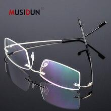 цена на Titanium Alloy Rimless Flexible Optical Glasses Frame Man woman Myopia Eyeglasses Frame Prescription Spectacle Frameless Q858