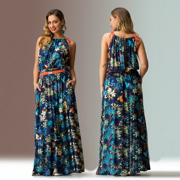 2015 print floral plus size long maxi dress 5xl summer Loose plus ...