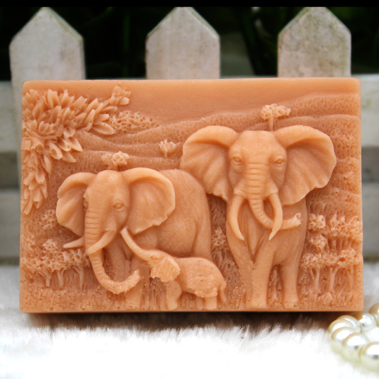 silicone mold Handmade animals soap mould font b food b font grade mold African elephant pattern