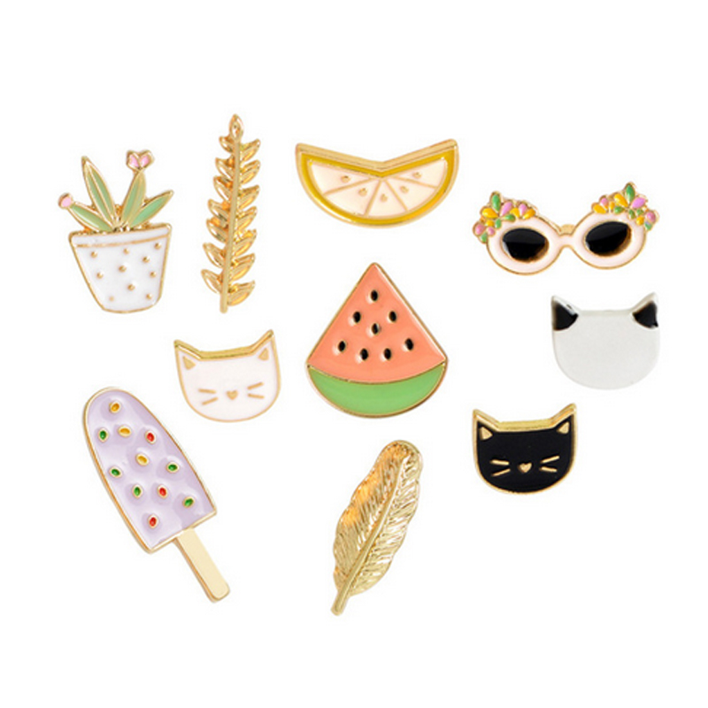 Dashing 1 Pcs Cartoon Cat Watermelon Metal Badge Brooch Button Pins Denim Jacket Pin Jewelry Decoration Badge For Clothes Lapel Pins Latest Fashion Home & Garden