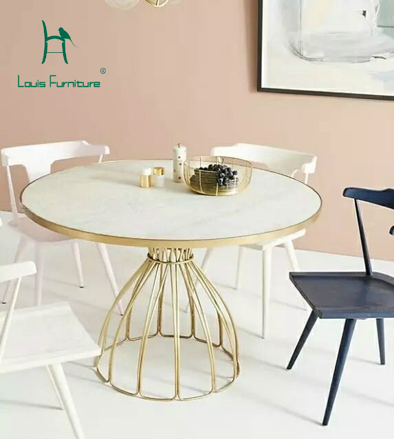 Louis Fashion Cafe Tables Nordic Marble Iron Gold Round Coffee - Round marble cafe table