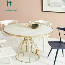Louis Fashion Cafe Tables Nordic Marble Iron Gold Round Coffee Negotiating(China)