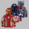 Caliente! capitán américa, the avengers, Iron Man niños Hoodies del muchacho de la camiseta del hombre araña para niños de manga larga Outwear niños niñas
