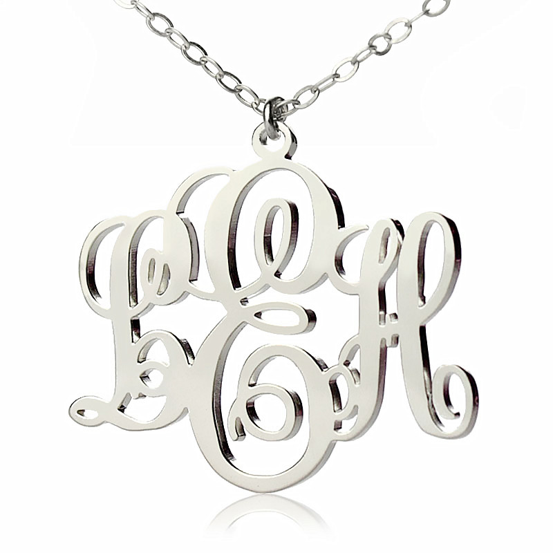 Free shipping silver plated monogram necklace custom 3 initial free shipping silver plated monogram necklace custom 3 initial monogrammed nameplate necklace to us 2 weeks in chain necklaces from jewelry accessories on aloadofball Images