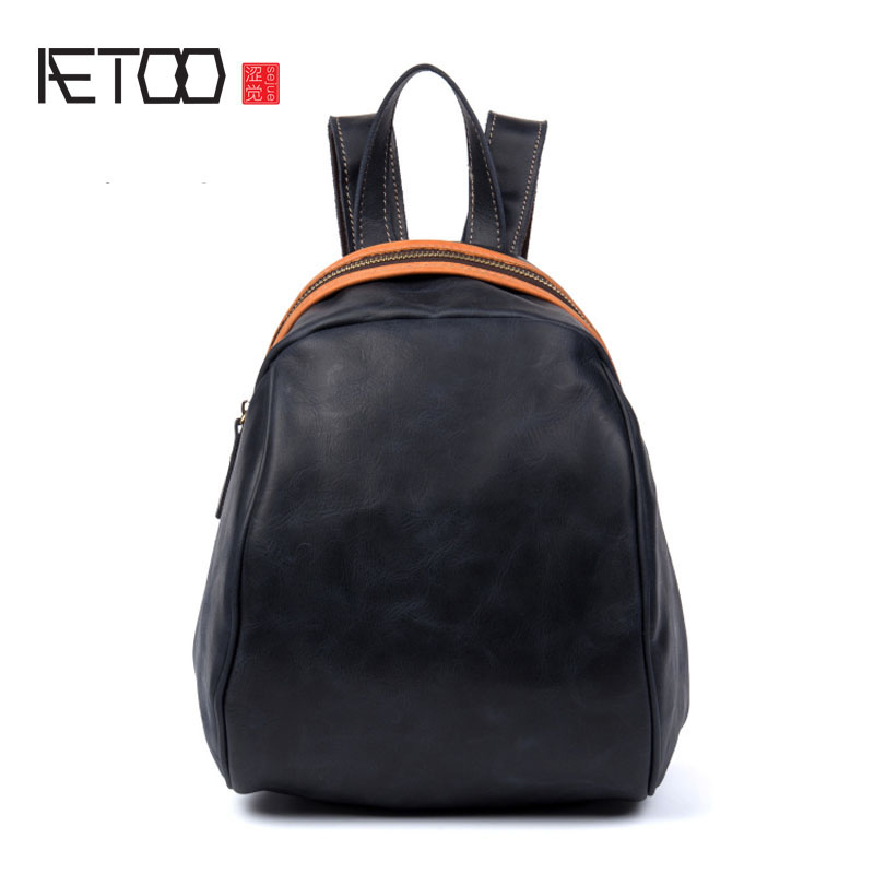 AETOO First layer of cowboy ladies shoulder bag of the small backpack personalized female leather bag backpack aetoo original women s shoulder bag black print backpack small fresh artistic first layer leather pocket computer bag