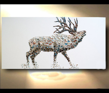 Palette Knife High Skills Artist 100%Hand-painted Abstract Polygonal Deer Oil Painting On Canvas Handmade Living Room