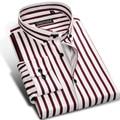 Camisa Masculina Listrada de Algodão da Moda, Camisa Casual Masculina de Negócios, Formal Elegante Manga Longa de Marca, 5G