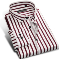 Fashion Brand Striped Shirt Men Long Sleeve Slim Fit Formal Business Male Casual Designer Cotton Dress Shirt Plus Size 4XL