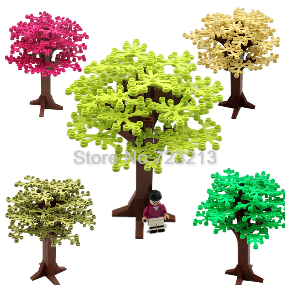 Single Sale 16cm Legoinglys Tree Plant Accessories Grass Parts Building Blocks MOC Scene Bricks Model Educational For Children