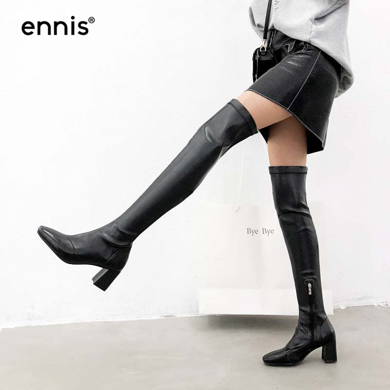 8ddac0c7b303 ENNIS 2018 Fashion Black Over The Knee Boots Plus Size Women Stretch Thigh  High Boots Chunky High Heel Shoes Autumn Winter L841
