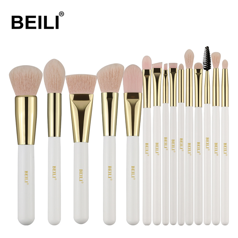 Beili Pearl White Gold Professional Make Up Brushes Pink Nano Wool