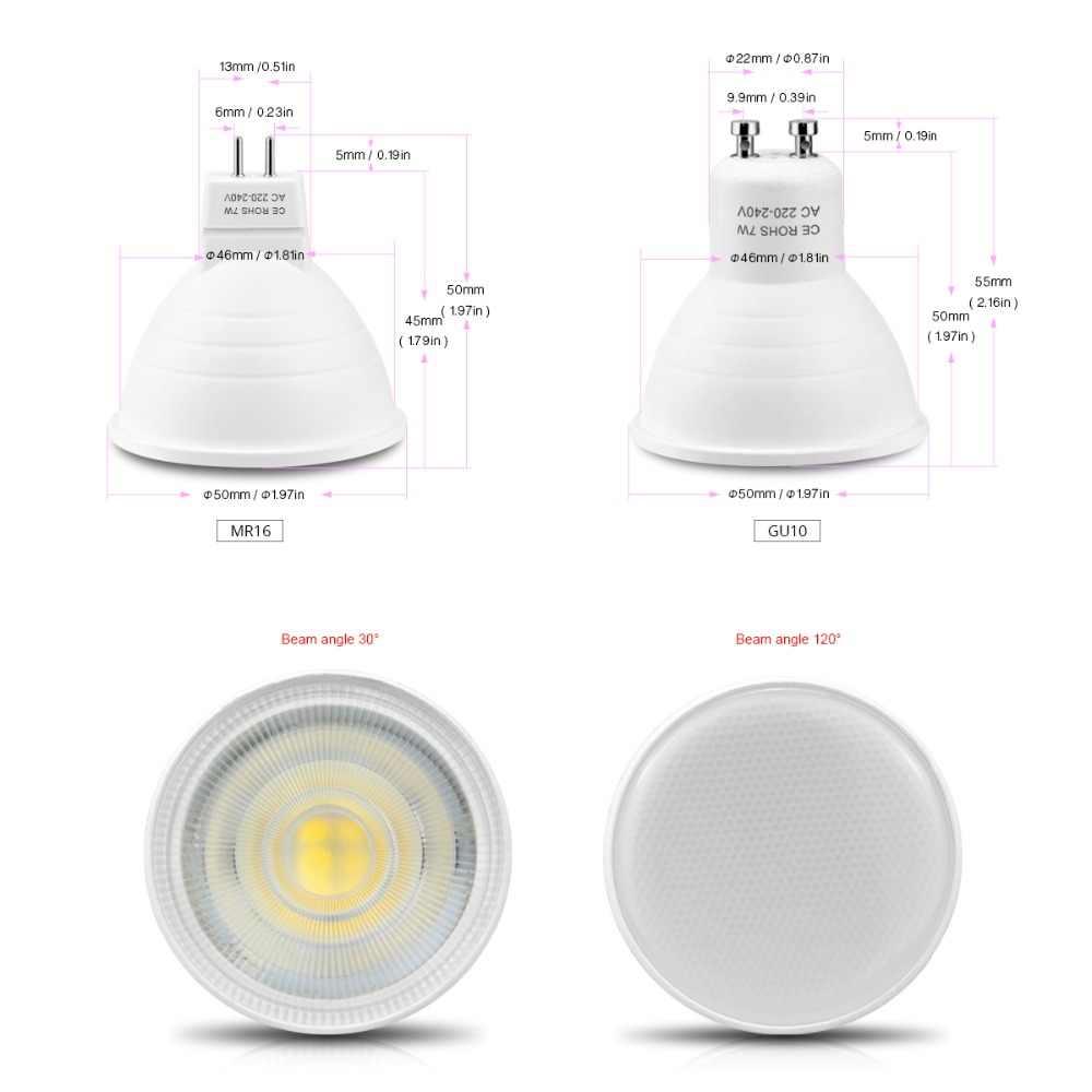 Светодиодный Spotlight GU10 MR16 светодиодный лампы 220 В 7 Вт нерегулируемых GU10 светодиодный светильник GU5.3 вниз свет Алюминий PCB для домашние точечные светильники