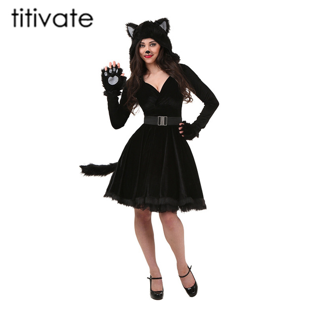 TITIVATE Hot Sale Sexy Black Teddy Bear Costume For Adult Cat Women  Halloween Costumes for Women Cosplay Masquerade Fancy Dress 27ded7756