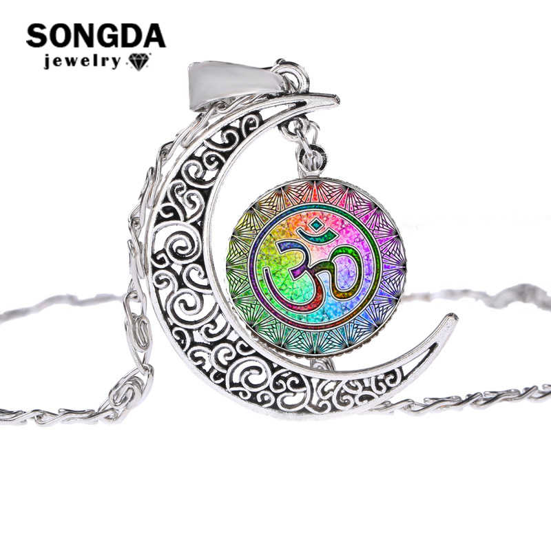SONGDA Muslims Allah OHM Hindu Buddhist AUM OM Symbol Henna Necklace Bloom Mandala Glass Gem Handmade Hollow Moon Pendant Choker