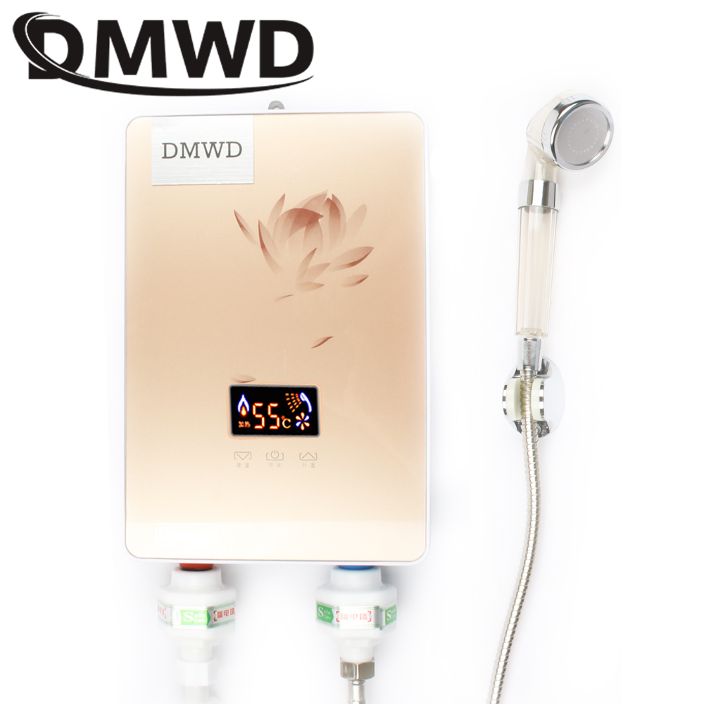DMWD Instant Tankless Electric hot Water Heater Faucet Kitchen quick Heating tap Shower Watering heaters bathroom LED display