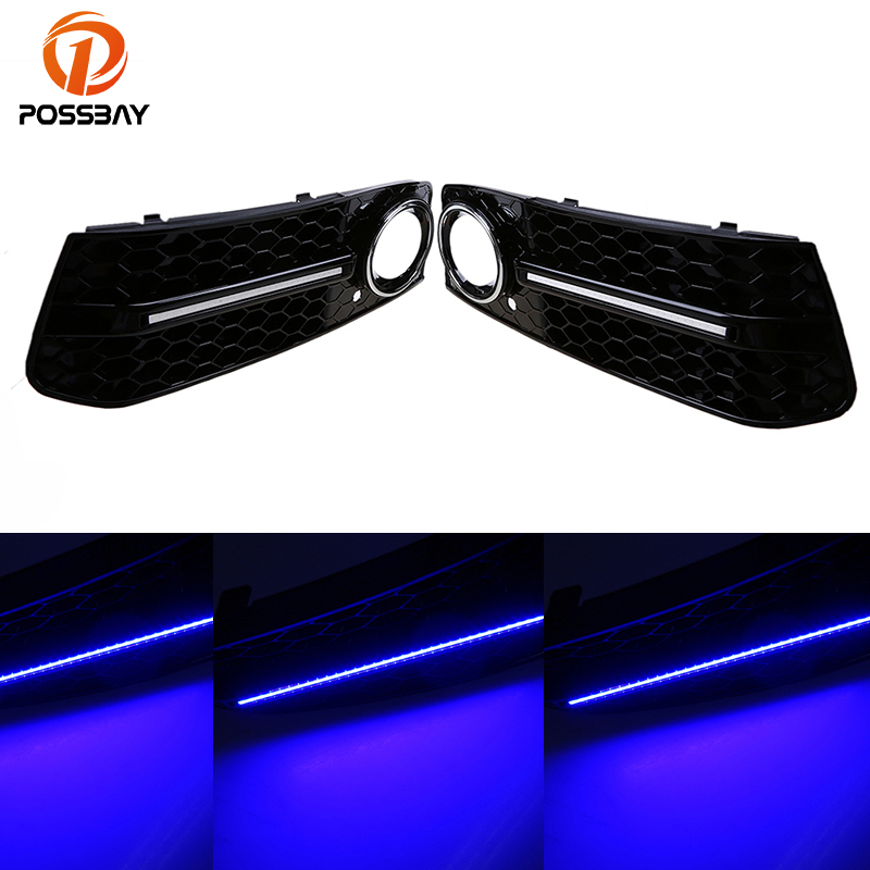 POSSBAY Front Car Fog Lights Cover Grilles Replacements for Audi A4 B8 2007-2011 Pre-facelift with Blue LED DRL Running Lights