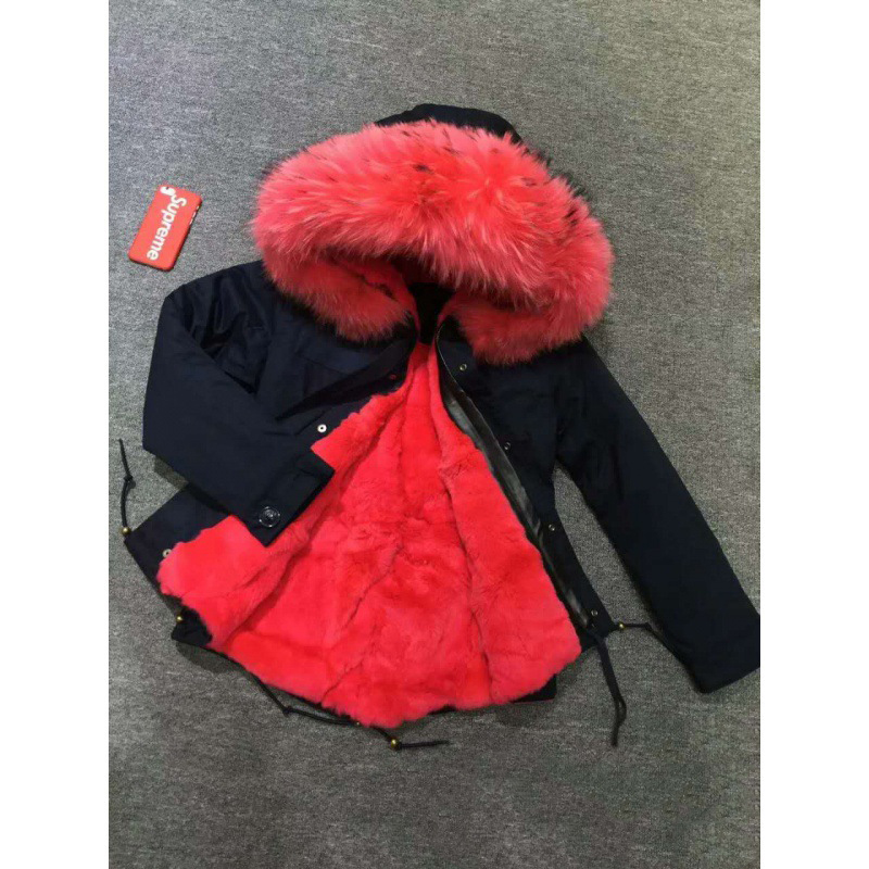 JKP 2018 new outerwear Children's big real raccoon fur collar coats girl's faux fur and velvet padded red collar parkas CT-62 цена