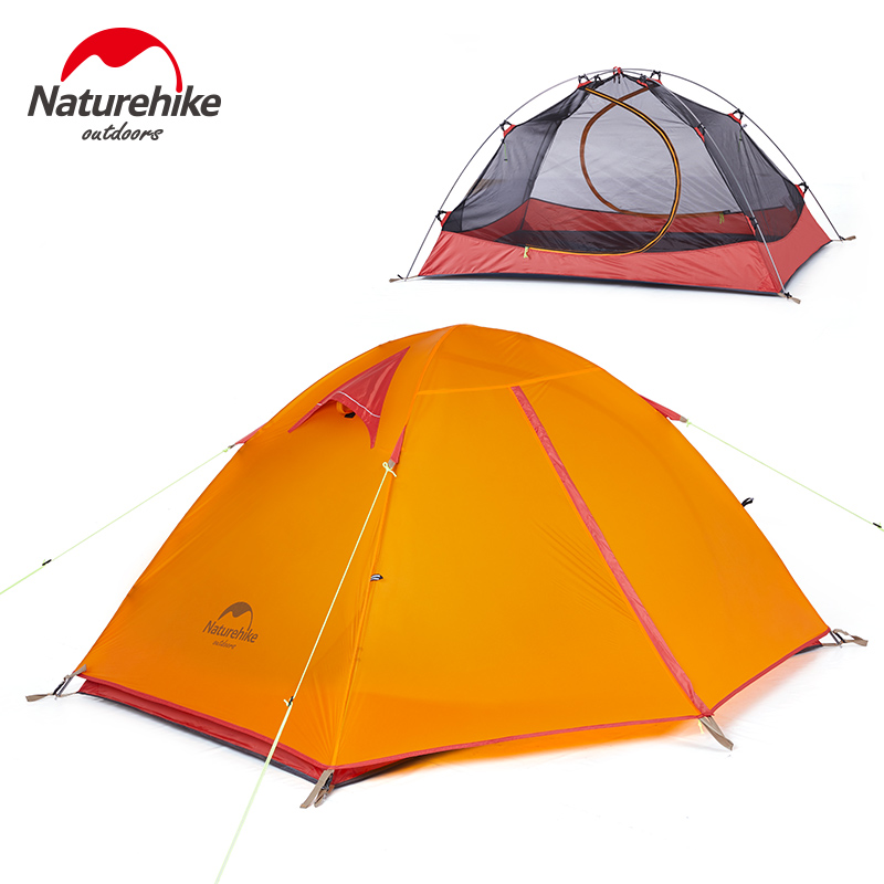 Naturehike outdoor camping 2 person tent 20D silicone ultralight 3 season tent double layer 2 people hiking fishing picnic tents dhl free shipping naturehike factory sell double person waterproof double layer camping durable gear picnic tent 20d silicone page 3