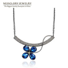Neoglory Auden Rhinestone Chain Necklaces Pendants for Women Fashion Flower Jewelry 2018 New Brand JS3 Flo-b QC4(China)