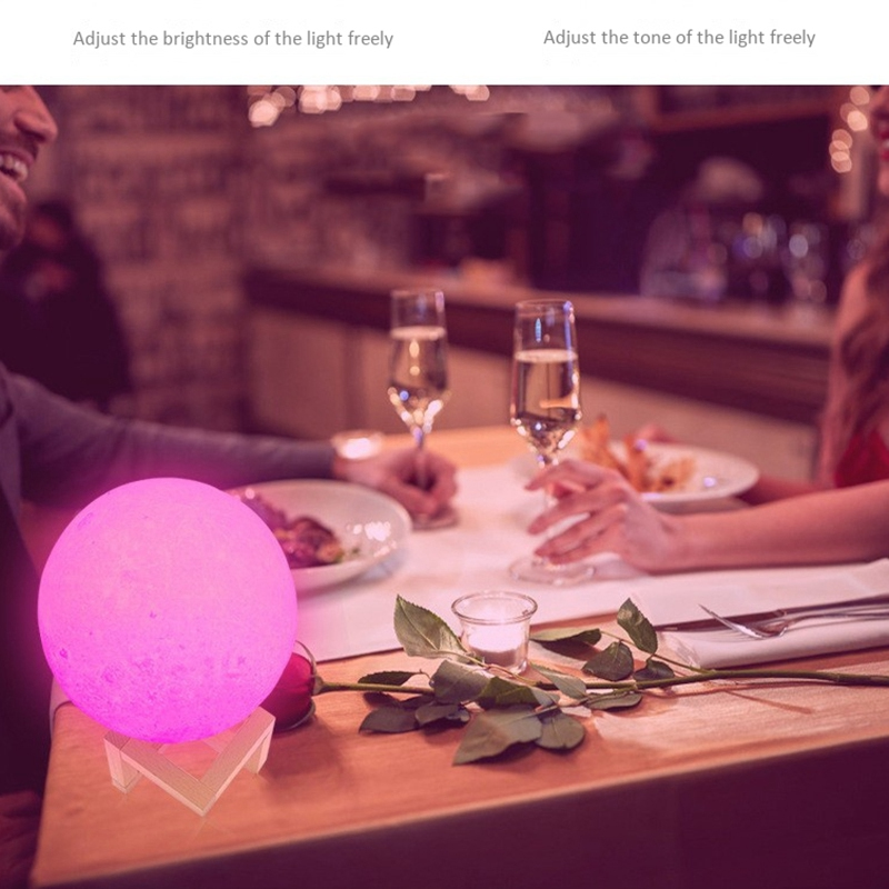 Dropship 3D Print Rechargeable Moon Lamp LED Night Light Creative Touch Switch Moon Light For Bedroom Decoration Birthday Gift in Night Lights from Lights Lighting