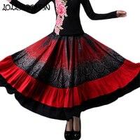 Ethnic Bohemian Skirt Women Floral Printed Long Gypsy Skirts 2019 New Fashion Wide Bottom Elastic Waist Ruffled Skirt