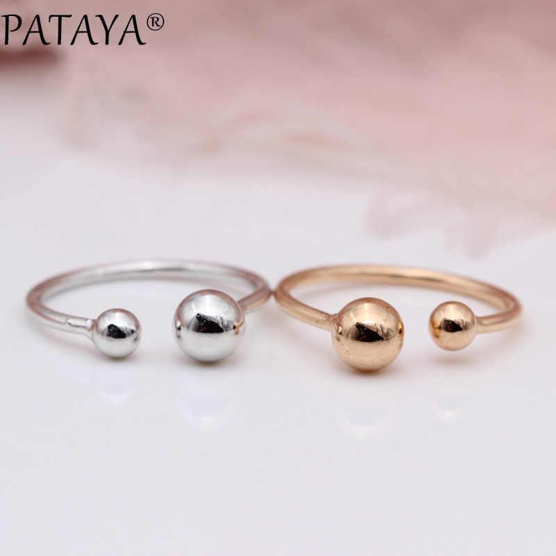 PATAYA Ring New 585 Rose Gold White Gold Big Small Double Spherical Up Opening Rings Women Wedding Party Exquisite Cute Jewelry
