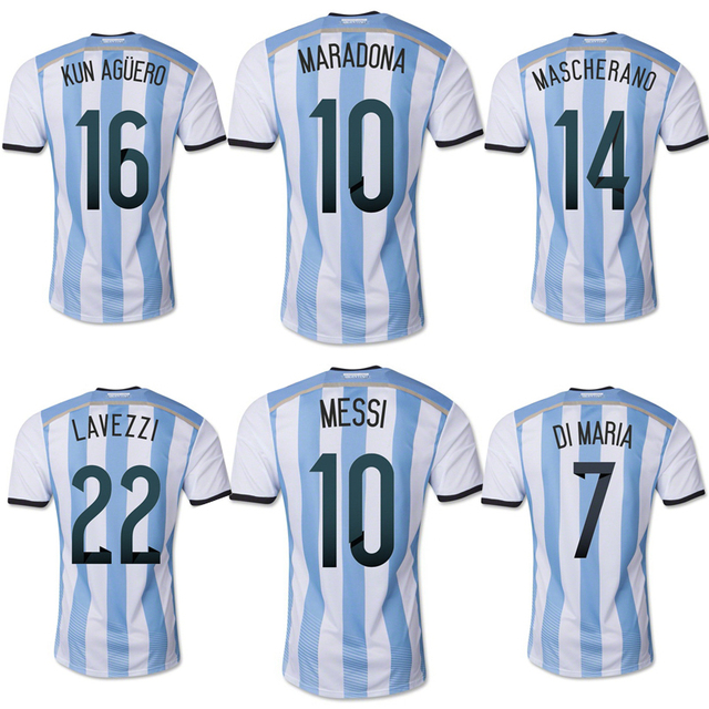 new arrival 68ab4 b2678 US $20.9 |2014 Argentina Home Messi MARADONA KUN AGUERO World Cup soccer  jersey Grade Original thai quality football jersey soccer shirt-in Soccer  ...
