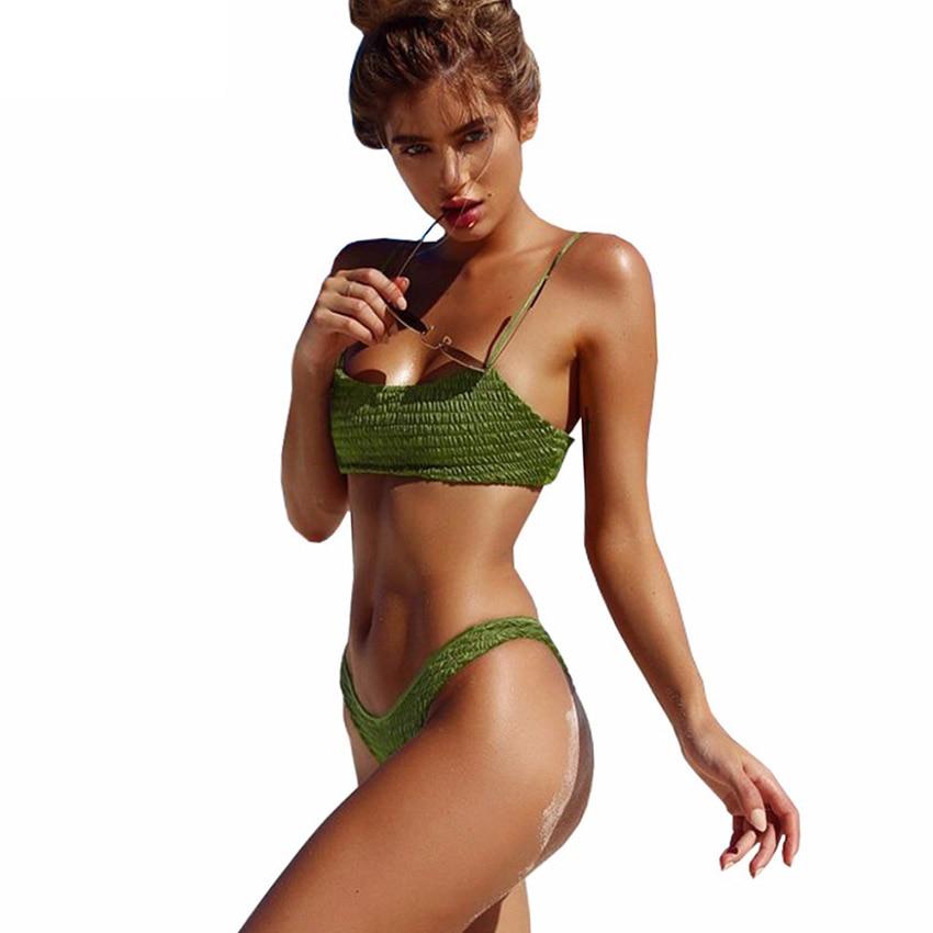 sexy pleated bikini set swimsuit thong swimwear women bikinis push up biquini 2017 female. Black Bedroom Furniture Sets. Home Design Ideas