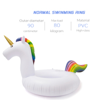 75/90/110/160cm Inflatable Unicorn Giant Pool Float Toys Swimming Ring 2
