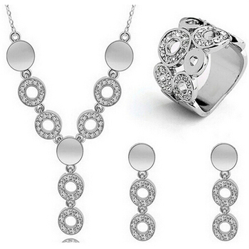 Classy Sparking Crystal Wedding Jewelry Set Jewelry Jewelry Sets Women Jewelry Metal Color: F757