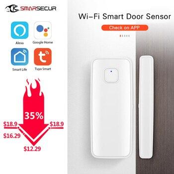 Wireless Smart WiFi Door Window Sensor Magnetic Detector  APP Control Work With Amazon Alexa smartyiba app remote control wifi wireless magnetic door window sensor detector door contact detect door close open app alerts