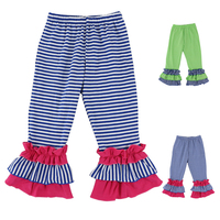 Free shipping 2Colors Baby Trousers Pants,Ruffle Pants Girls Striped Color Knitted Cotton Triple Ruffled Pants for Kids1-6T